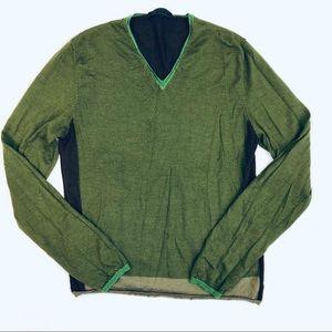Prada V-Neck Color Block Cashmere Silk Sweater